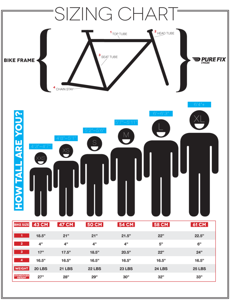 bicycle frame size charts
